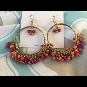 Round dangle beaded colorful earrings